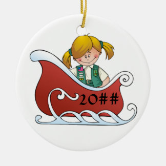 Junior Sled Blonde Ceramic Ornament
