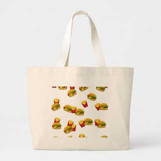 Junk food pattern large tote bag