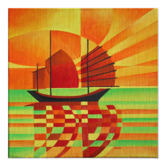 Junk on Sea of Green Cubist Abstract 13 Cm X 13 Cm Square Invitation Card