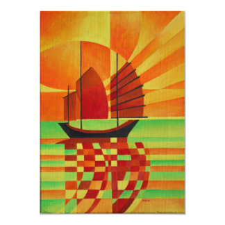 Junk on Sea of Green Cubist Abstract 13 Cm X 18 Cm Invitation Card