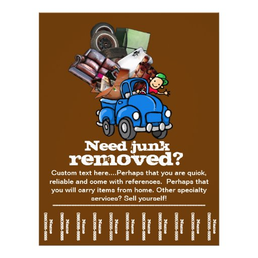 Junk removal business custom tear sheet flyer zazzle for Zazzle custom t shirts
