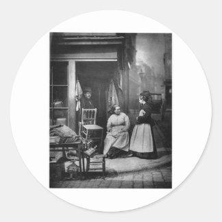 Junk Shop in London - Vintage 1876 Photo Round Sticker