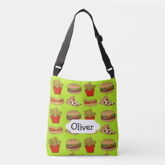 Junkfood pizza cheeseburger fries hotdogs design crossbody bag