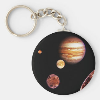 Jupiter and Her Moons Basic Round Button Key Ring