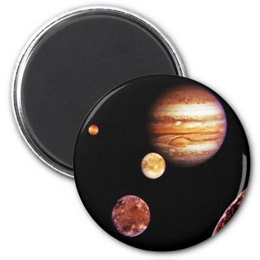 Jupiter and Her Moons Refrigerator Magnets