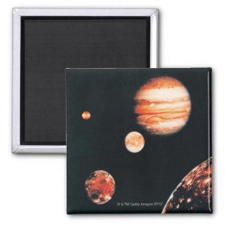 Jupiter and The Galilean Satellites Square Magnet
