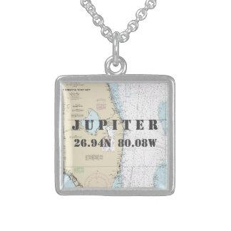 Jupiter FL Home town Latitude Longitude Nautical Sterling Silver Necklace
