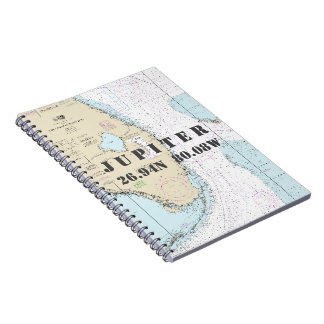 Jupiter FL Latitude Longitude Nautical Chart Spiral Notebook