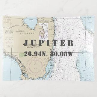 Jupiter FL Nautical Chart Latitude Longitude Trinket Trays