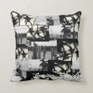 Jupiter, Florida Boat & Pelican Collage Pillow Cushions