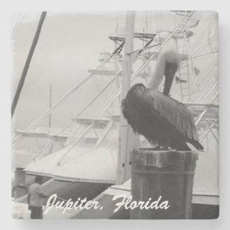 Jupiter, Florida Marina & Pelican Photo Coaster Stone Coaster