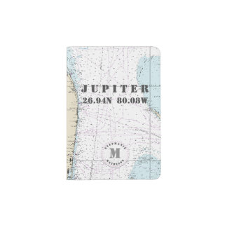 Jupiter, Florida Monogram Nautical Chart Passport Holder