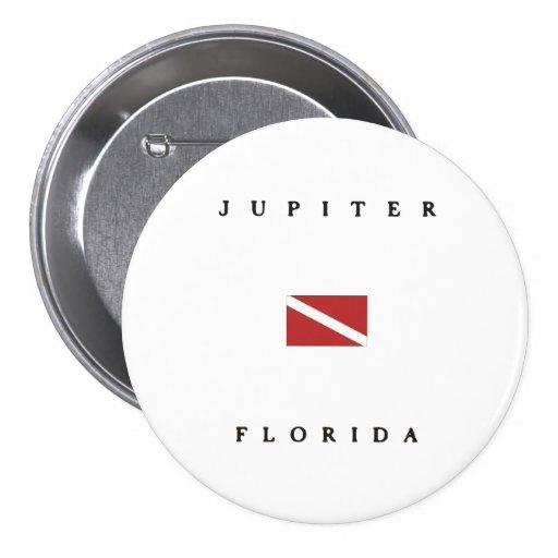 Jupiter Florida Scuba Dive Flag Pinback Buttons