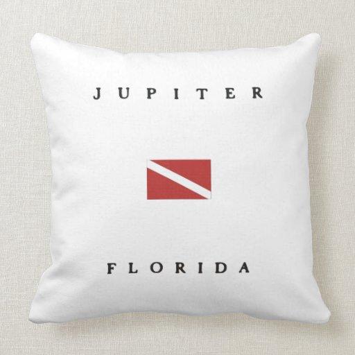 Jupiter Florida Scuba Dive Flag Throw Pillows