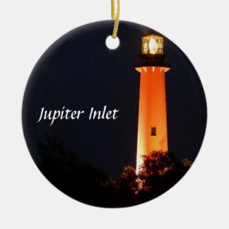 Jupiter Inlet Lighthouse Round Ceramic Decoration