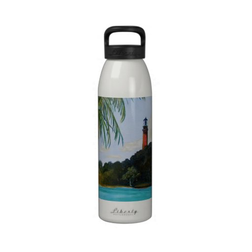 Jupiter Lighthouse with Palm Water Bottle