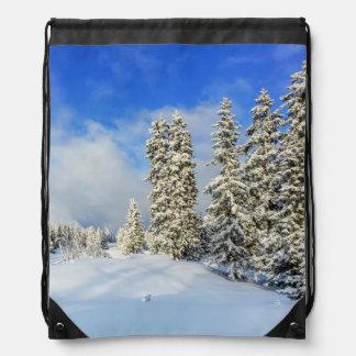 Jura mountain in winter, Switzerland Drawstring Bag