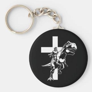 Jurassic Jesus Basic Round Button Key Ring