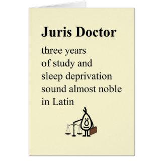 Juris Doctor - funny law grad poem (blank inside) Greeting Card