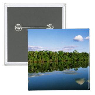 Juruena, Brazil. Forested river bank reflected 15 Cm Square Badge
