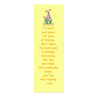 Jus Chillin' Easter Bunny on decorated egg Bookmar Pack Of Skinny Business Cards