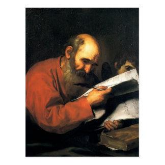 Jusepe de Ribera- St. Matthew with the angel Postcard