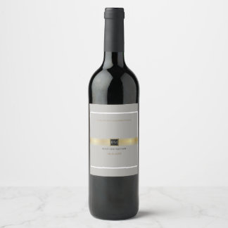 just a simple & elegant wedding monogram on gray wine label