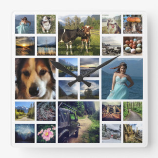 Just Add Photos Custom 24 Picture Collage Square Wall Clock