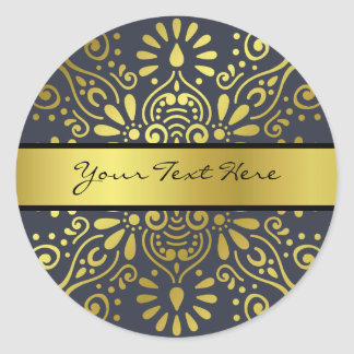 Just Add Your Name | Faux Gold Foil Mandala Classic Round Sticker