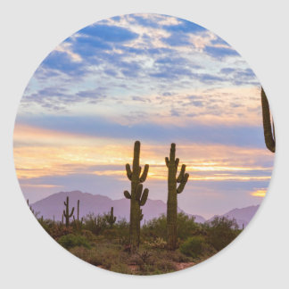 Just Another Colorful Sonoran Desert Sunrise Classic Round Sticker