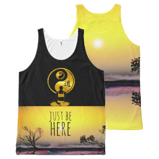 JUST BE HERE YOGA Meditation YinYang Mindfulness All-Over Print Singlet