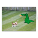 Just Because Card, Basset & Fire Breathing Dragon Greeting Card