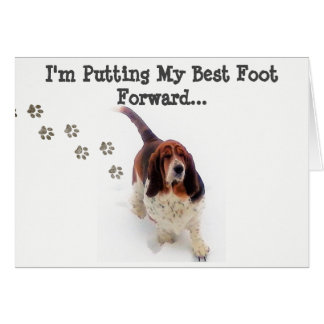 """Just Because"" Card w/Basset Hound & ""Paw Prints"""