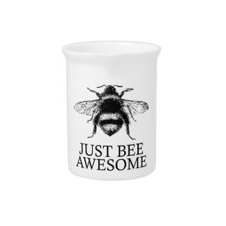 Just Bee Awesome! Motivational Vintage Art Gift Pitcher