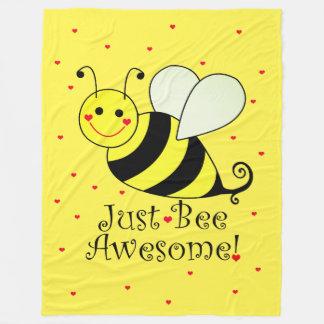 Just Bee Awesome Yellow Bumble Bee Hearts Fleece Blanket