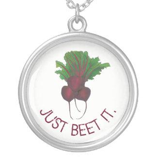 Just Beet It Red Beets Veggie Bunch Gardener Vegan Silver Plated Necklace