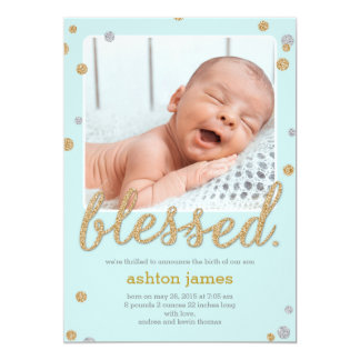 Just Blessed Birth Announcement - Blue
