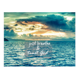 Just Breathe and Trust God Faith Quote Postcard