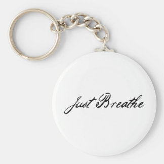 just breathe basic round button key ring