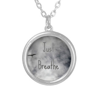 Just Breathe Bird Flying in Cloudy Sky Silver Plated Necklace