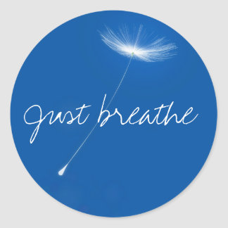 Just breathe - Dandelions floating Classic Round Sticker