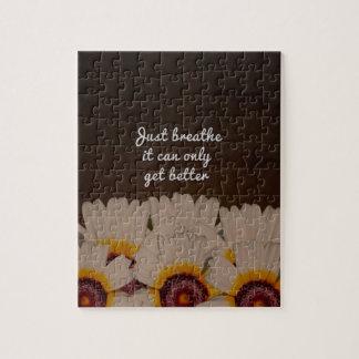 Just Breathe Flower Design Jigsaw Puzzle