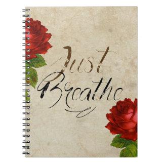 Just Breathe - Flower Red Spiral Notebook