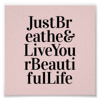 Just Breathe Inspirational Mini Print Pretty Pink