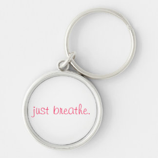 just breathe. Silver-Colored round key ring