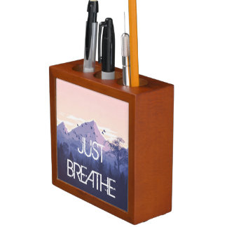 Just Breathe Mountain Design Desk Organiser