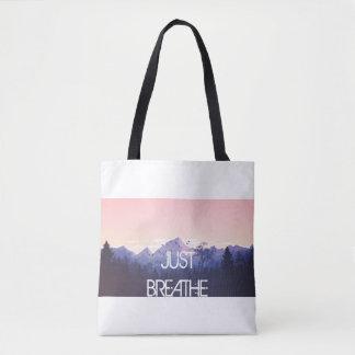 Just Breathe Mountain Design Tote Bag