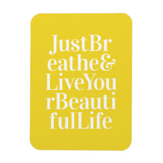 Just Breathe Positivity Inspiring Quote Yellow Rectangle Magnets