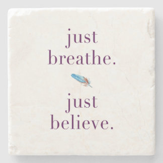 Just Breathe Quote Coaster with Feather