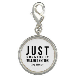 Just Breathe Women's Round Bracelet Charm